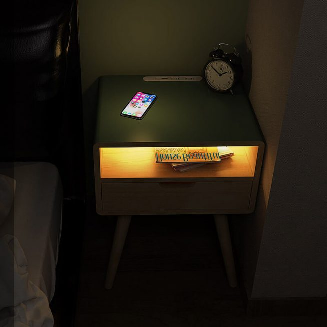 Square Pro – Smart Bedside Table With Wireless Charging